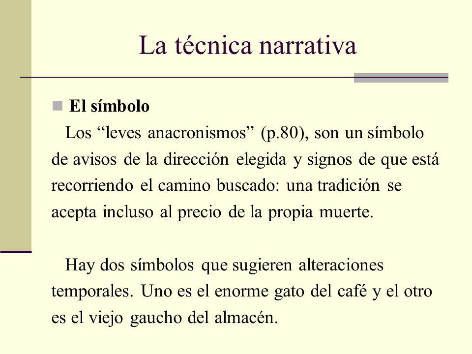 La técnica narrativa El símbolo Los leves anacronismos (p.80), son un símbolo de avisos de la dirección elegida y signos de que está recorriendo el ca