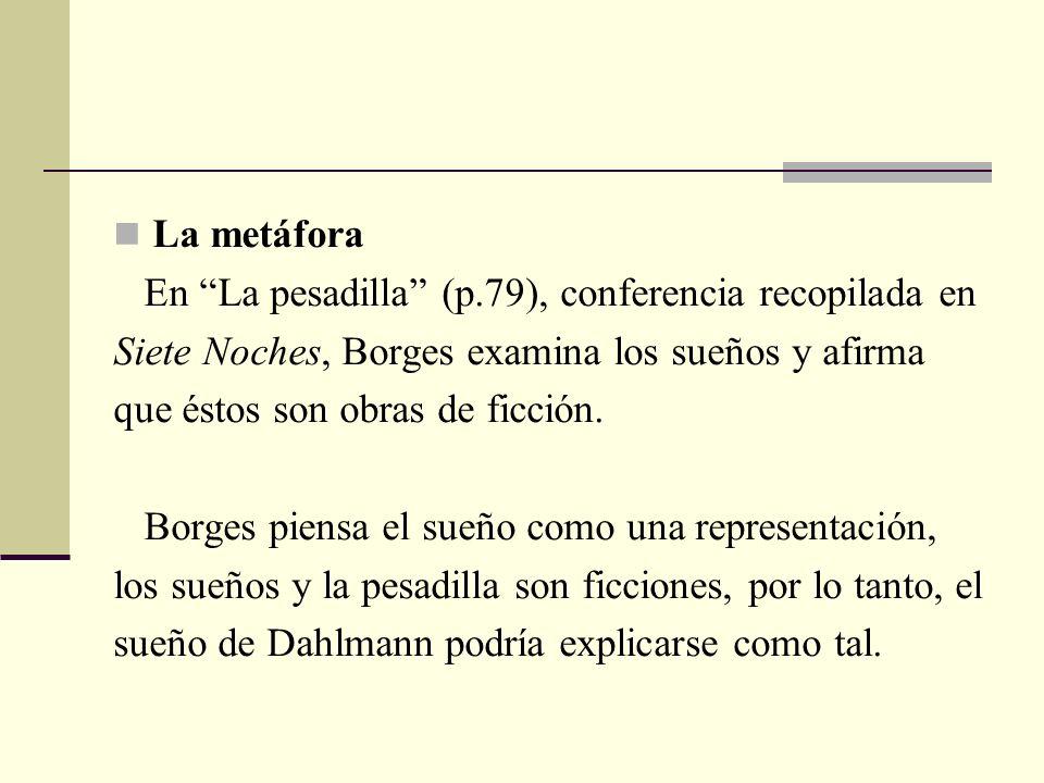 La metáfora En La pesadilla (p.79), conferencia recopilada en Siete Noches, Borges examina los sueños y afirma que éstos son obras de ficción. Borges