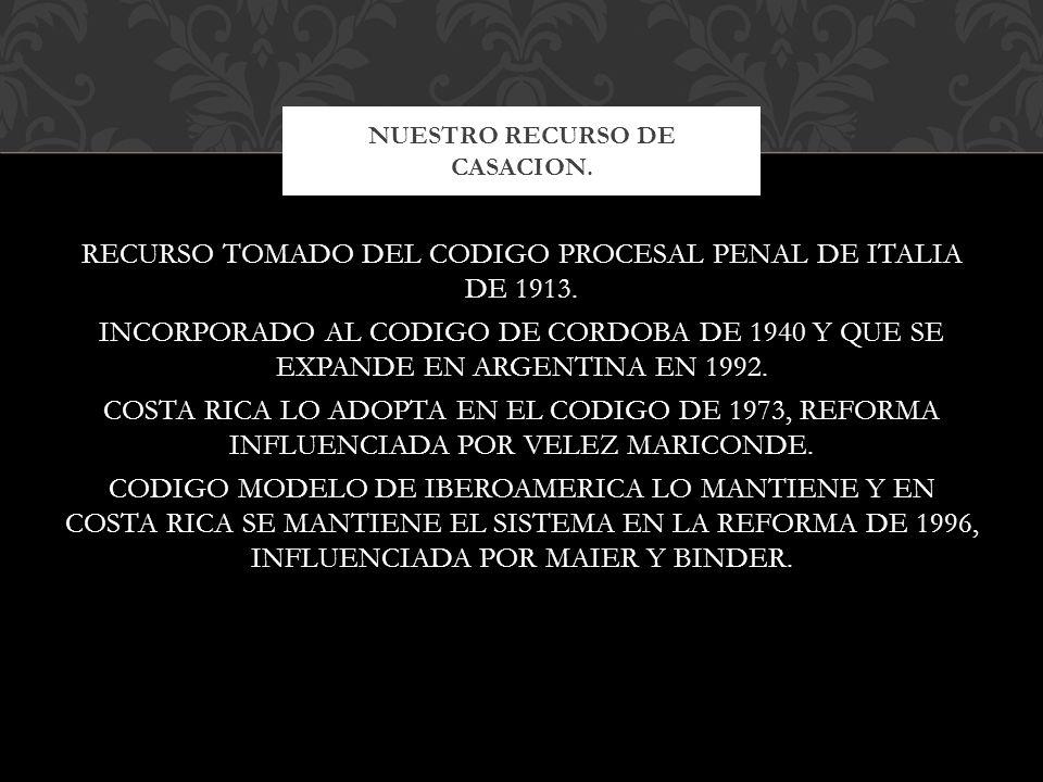 RECURSO TOMADO DEL CODIGO PROCESAL PENAL DE ITALIA DE 1913. INCORPORADO AL CODIGO DE CORDOBA DE 1940 Y QUE SE EXPANDE EN ARGENTINA EN 1992. COSTA RICA