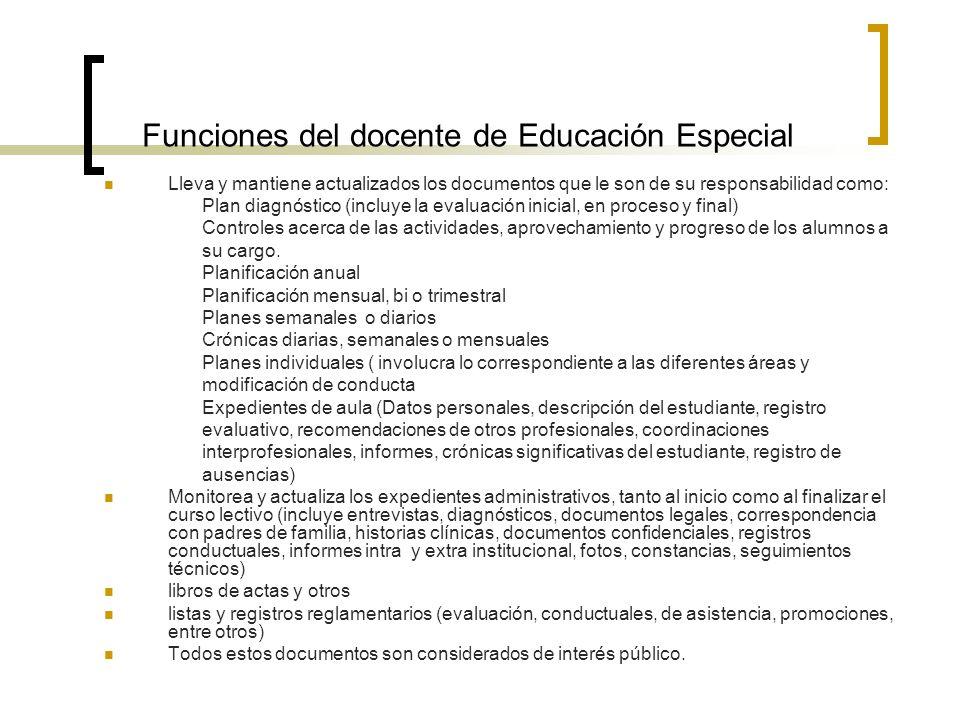 Funciones del docente de Educación Especial Lleva y mantiene actualizados los documentos que le son de su responsabilidad como: Plan diagnóstico (incl