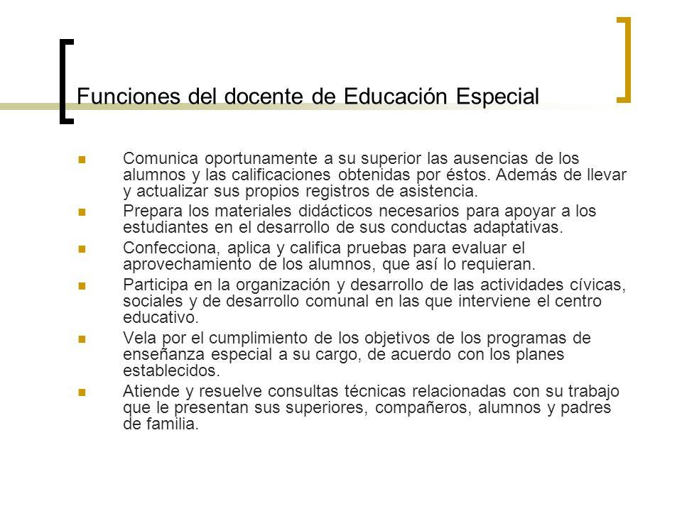 Funciones del docente de Educación Especial Comunica oportunamente a su superior las ausencias de los alumnos y las calificaciones obtenidas por éstos
