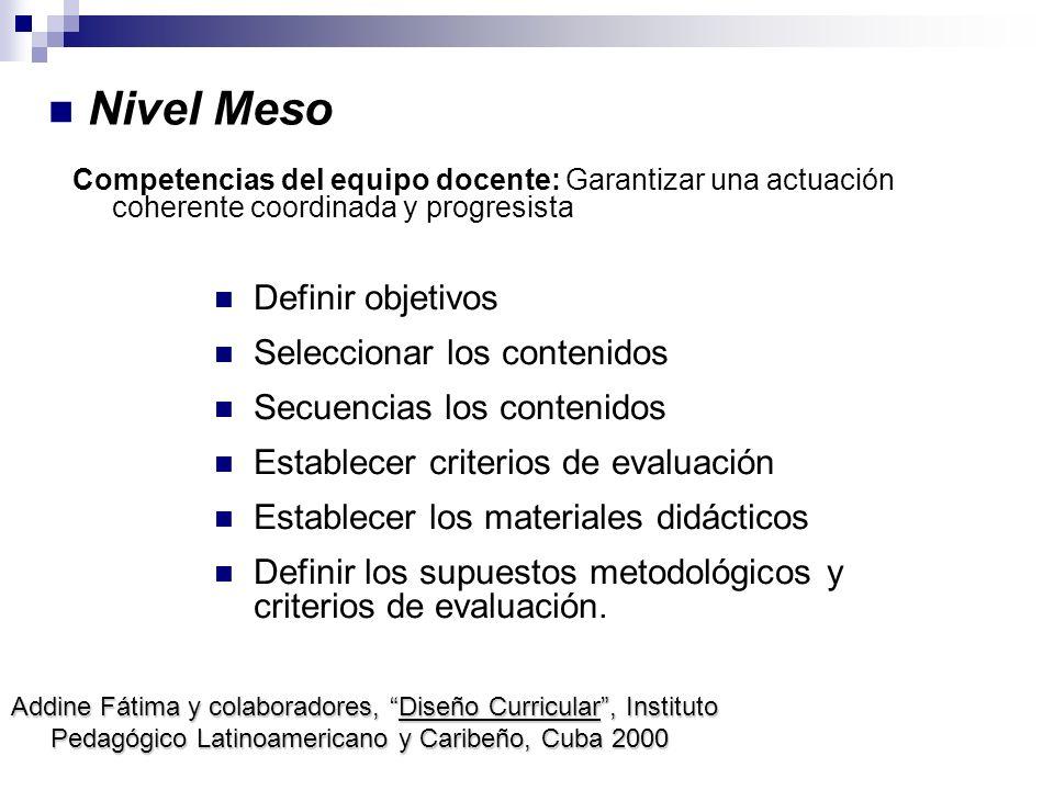 Nivel Meso Competencias del equipo docente: Garantizar una actuación coherente coordinada y progresista Definir objetivos Seleccionar los contenidos S
