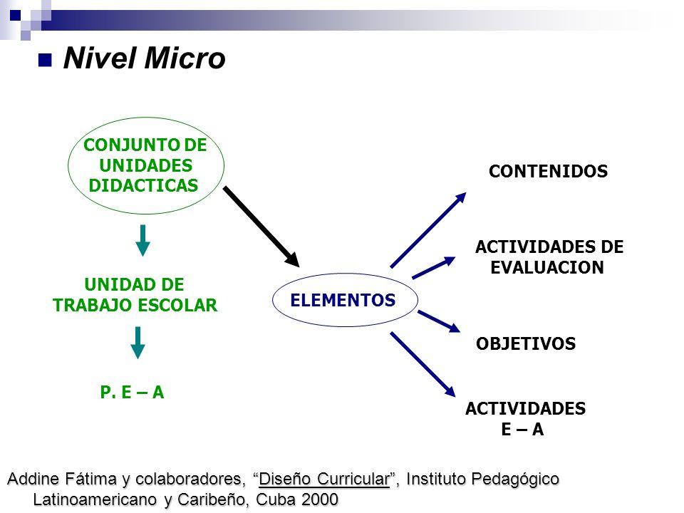 Nivel Micro UNIDAD DE TRABAJO ESCOLAR CONJUNTO DE UNIDADES DIDACTICAS ELEMENTOS P. E – A ACTIVIDADES DE EVALUACION ACTIVIDADES E – A OBJETIVOS CONTENI