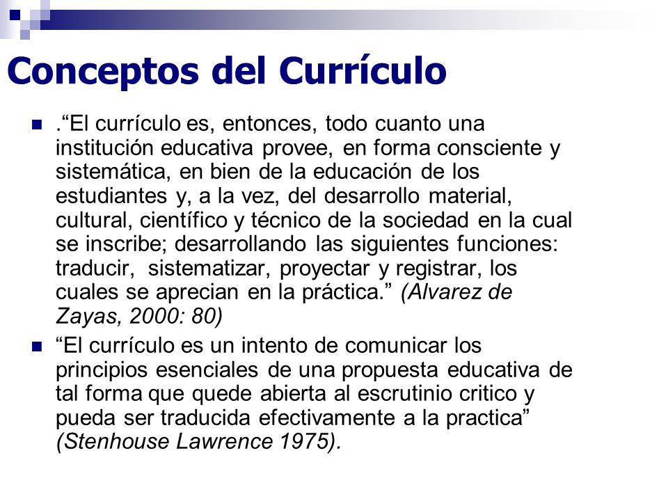 Conceptos del Currículo.El currículo es, entonces, todo cuanto una institución educativa provee, en forma consciente y sistemática, en bien de la educ