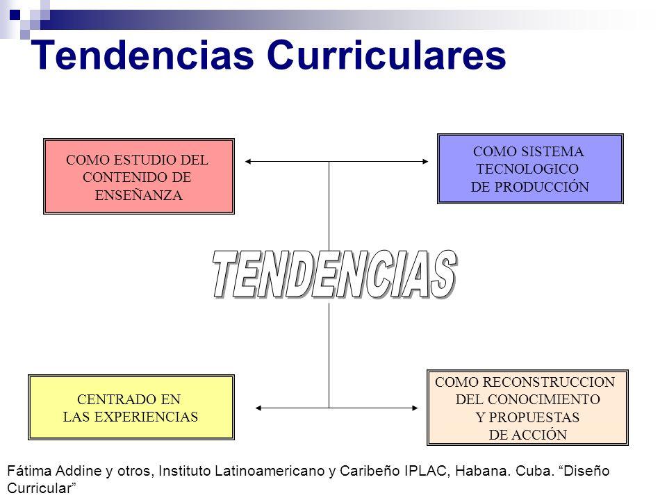 Tendencias Curriculares COMO ESTUDIO DEL CONTENIDO DE ENSEÑANZA CENTRADO EN LAS EXPERIENCIAS COMO RECONSTRUCCION DEL CONOCIMIENTO Y PROPUESTAS DE ACCI