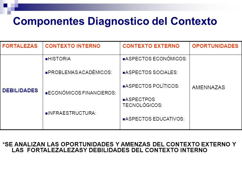 Componentes Diagnostico del Contexto FORTALEZASCONTEXTO INTERNOCONTEXTO EXTERNOOPORTUNIDADES DEBILIDADES HISTORIA PROBLEMAS ACADÉMICOS: ECONÓMICOS FIN