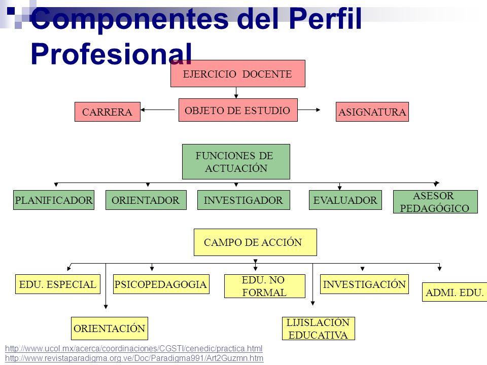 Componentes del Perfil Profesional EJERCICIO DOCENTE CAMPO DE ACCIÓN PLANIFICADOR FUNCIONES DE ACTUACIÓN OBJETO DE ESTUDIO CARRERA EDU. ESPECIAL ASESO