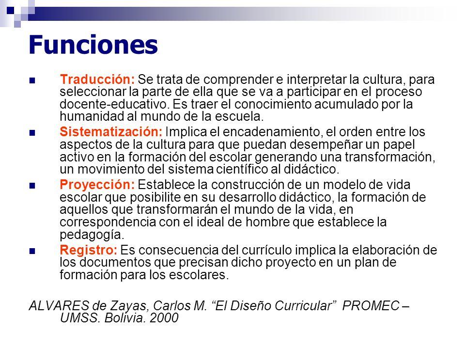 Funciones Traducción: Se trata de comprender e interpretar la cultura, para seleccionar la parte de ella que se va a participar en el proceso docente-