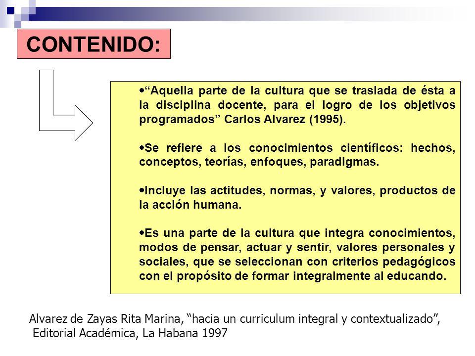 Alvarez de Zayas Rita Marina, hacia un curriculum integral y contextualizado, Editorial Académica, La Habana 1997 CONTENIDO: Aquella parte de la cultu