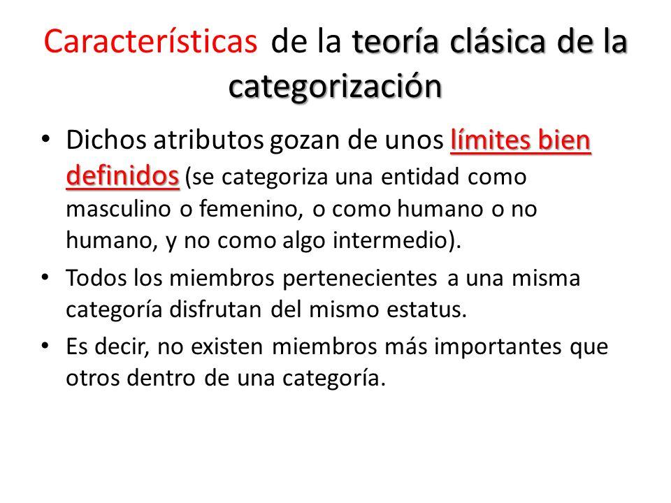 teoría clásica de la categorización Características de la teoría clásica de la categorización límites bien definidos Dichos atributos gozan de unos lí