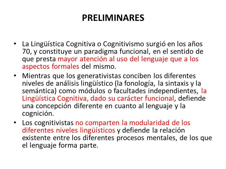 PRELIMINARES La Lingüística Cognitiva o Cognitivismo surgió en los años 70, y constituye un paradigma funcional, en el sentido de que presta mayor ate