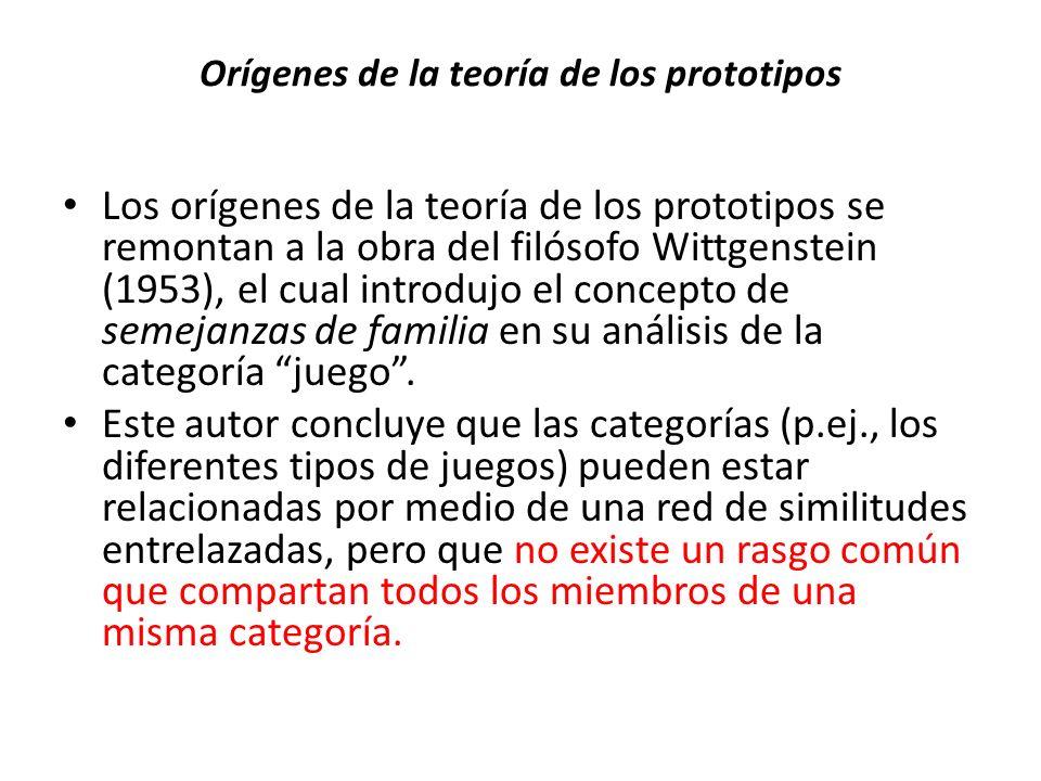 Orígenes de la teoría de los prototipos Los orígenes de la teoría de los prototipos se remontan a la obra del filósofo Wittgenstein (1953), el cual in