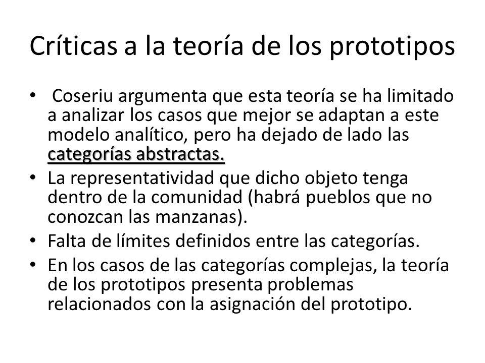 Críticas a la teoría de los prototipos categorías abstractas. Coseriu argumenta que esta teoría se ha limitado a analizar los casos que mejor se adapt
