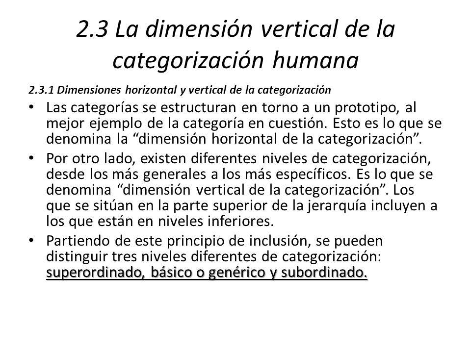 2.3 La dimensión vertical de la categorización humana 2.3.1 Dimensiones horizontal y vertical de la categorización Las categorías se estructuran en to