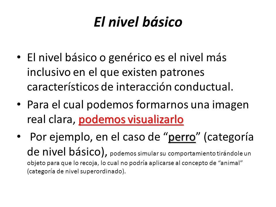 El nivel básico El nivel básico o genérico es el nivel más inclusivo en el que existen patrones característicos de interacción conductual. podemos vis