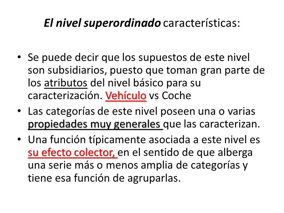 El nivel superordinado características: Vehículo Se puede decir que los supuestos de este nivel son subsidiarios, puesto que toman gran parte de los a