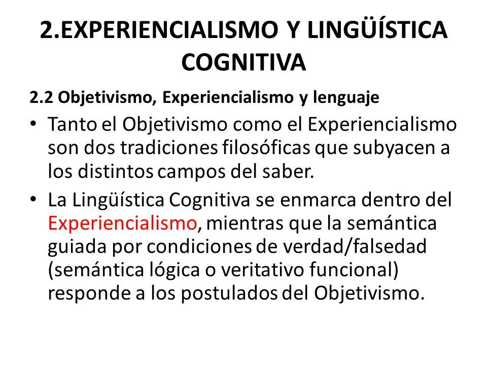 2.EXPERIENCIALISMO Y LINGÜÍSTICA COGNITIVA 2.2 Objetivismo, Experiencialismo y lenguaje Tanto el Objetivismo como el Experiencialismo son dos tradicio