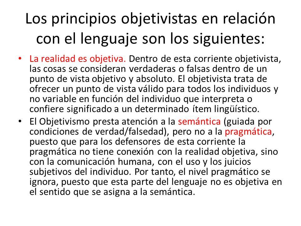 principios objetivistas en relación con el lenguaje Las palabras tienen significados fijos e invariables, y deben corresponderse con la realidad.