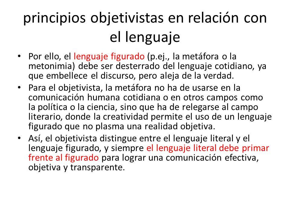 principios objetivistas en relación con el lenguaje Por ello, el lenguaje figurado (p.ej., la metáfora o la metonimia) debe ser desterrado del lenguaj