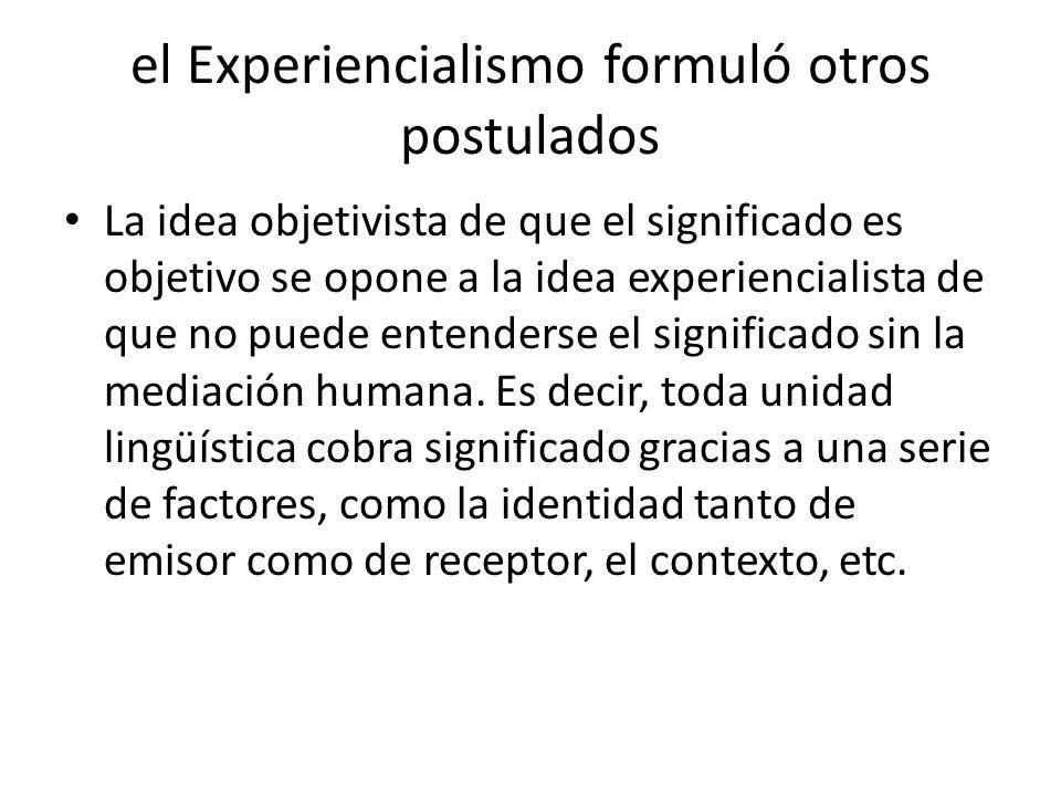 el Experiencialismo formuló otros postulados Si el significado se construye gracias a la interacción del hombre con el mundo, entonces se deduce que el significado es corporeizado.