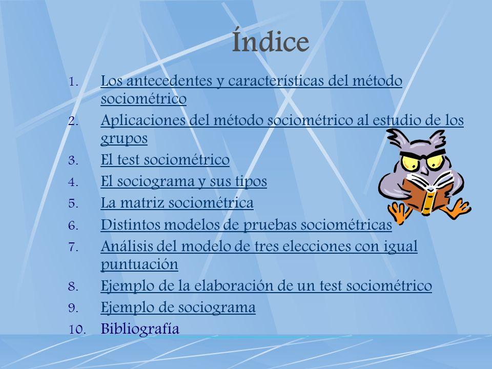 Índice 1. Los antecedentes y características del método sociométrico Los antecedentes y características del método sociométrico 2. Aplicaciones del mé