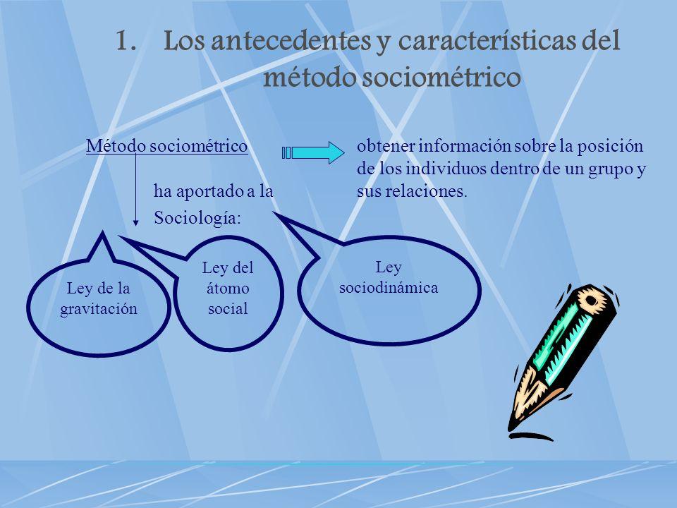 1.Los antecedentes y características del método sociométrico Método sociométricoobtener información sobre la posición de los individuos dentro de un g