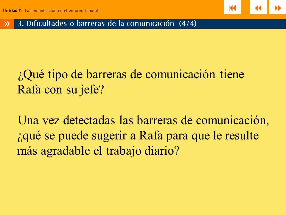 ¿Qué tipo de barreras de comunicación tiene Rafa con su jefe? Una vez detectadas las barreras de comunicación, ¿qué se puede sugerir a Rafa para que l