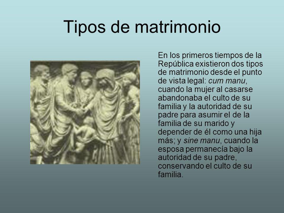 Tipos de matrimonio En los primeros tiempos de la República existieron dos tipos de matrimonio desde el punto de vista legal: cum manu, cuando la muje