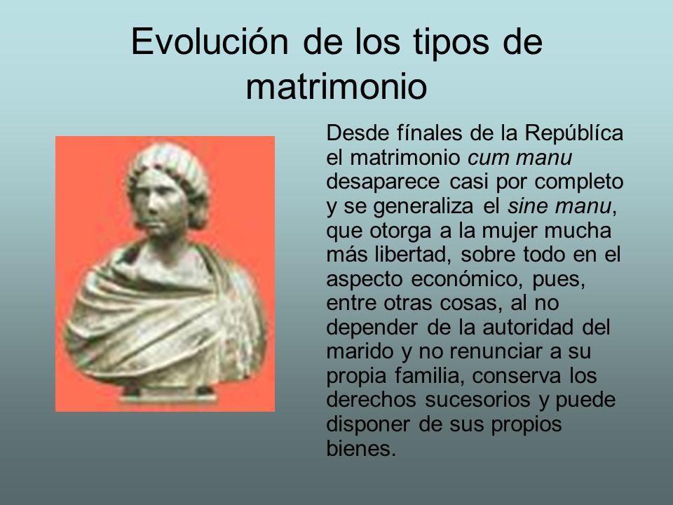 Evolución de los tipos de matrimonio Desde fínales de la Repúblíca el matrimonio cum manu desaparece casi por completo y se generaliza el sine manu, q