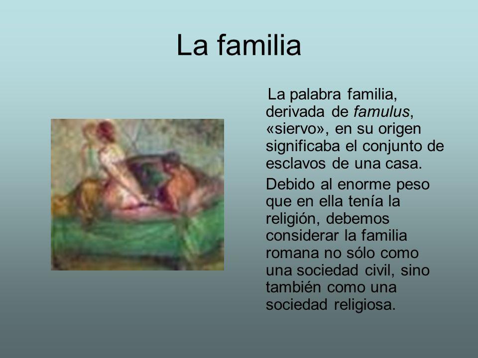 La familia La palabra familia, derivada de famulus, «siervo», en su origen significaba el conjunto de esclavos de una casa. Debido al enorme peso que