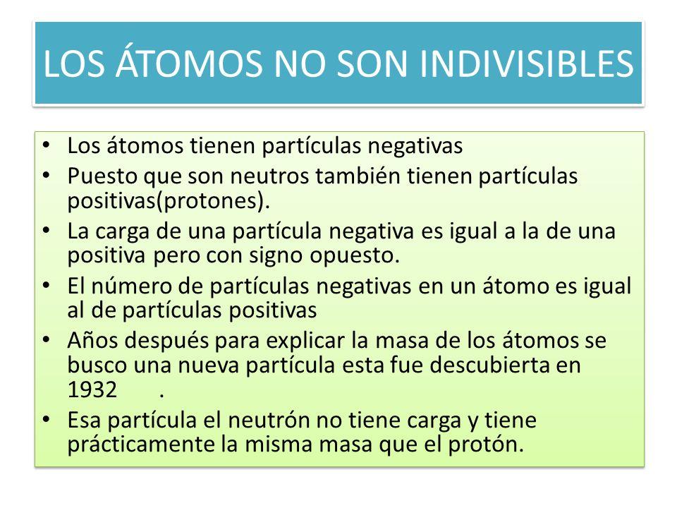 LOS ÁTOMOS NO SON INDIVISIBLES Los átomos tienen partículas negativas Puesto que son neutros también tienen partículas positivas(protones). La carga d