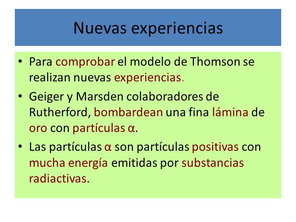 Nuevas experiencias Para comprobar el modelo de Thomson se realizan nuevas experiencias. Geiger y Marsden colaboradores de Rutherford, bombardean una