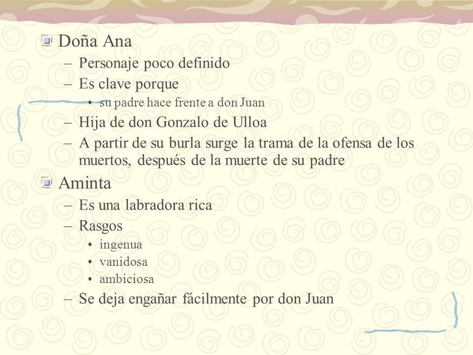 Doña Ana –Personaje poco definido –Es clave porque su padre hace frente a don Juan –Hija de don Gonzalo de Ulloa –A partir de su burla surge la trama
