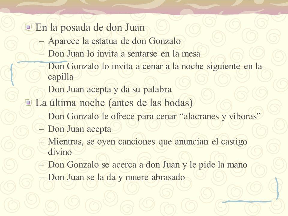 En la posada de don Juan –Aparece la estatua de don Gonzalo –Don Juan lo invita a sentarse en la mesa –Don Gonzalo lo invita a cenar a la noche siguie