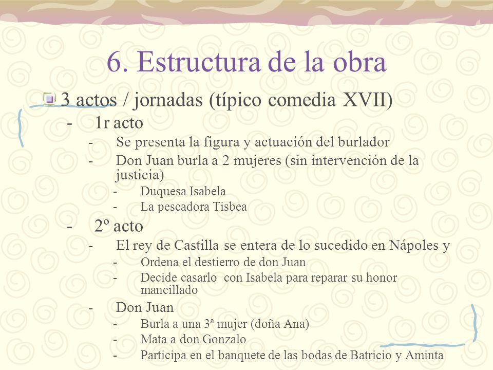 6. Estructura de la obra 3 actos / jornadas (típico comedia XVII) -1r acto -Se presenta la figura y actuación del burlador -Don Juan burla a 2 mujeres