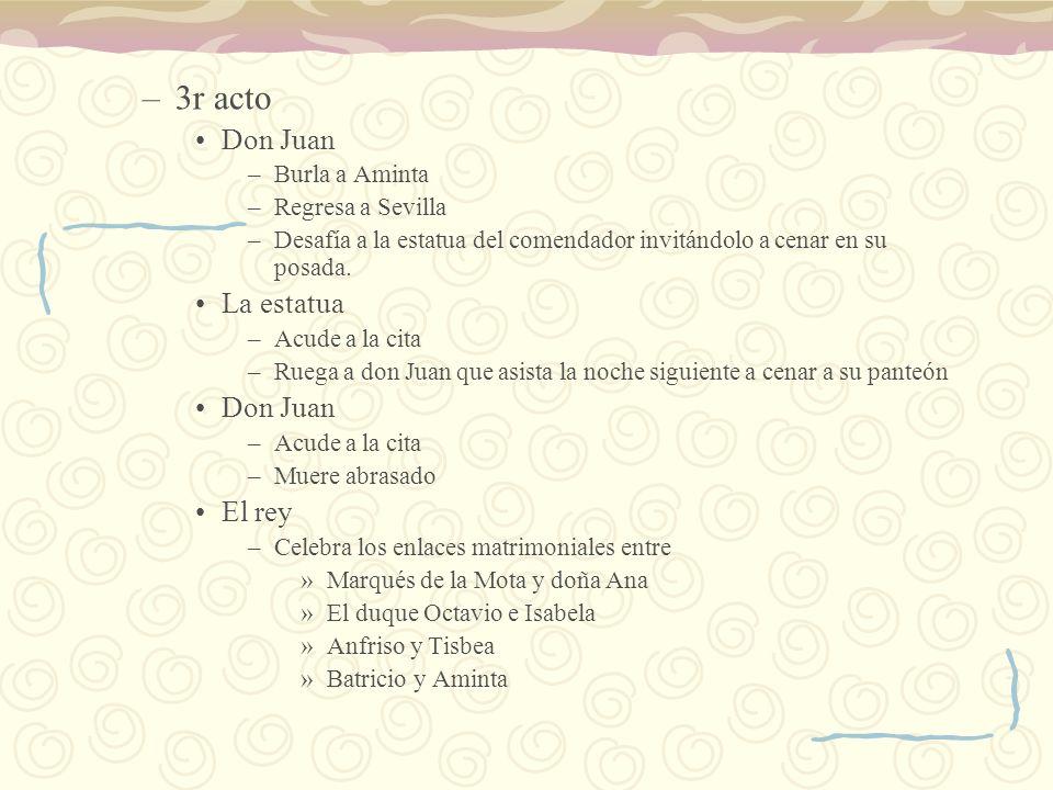 –3r acto Don Juan –Burla a Aminta –Regresa a Sevilla –Desafía a la estatua del comendador invitándolo a cenar en su posada. La estatua –Acude a la cit