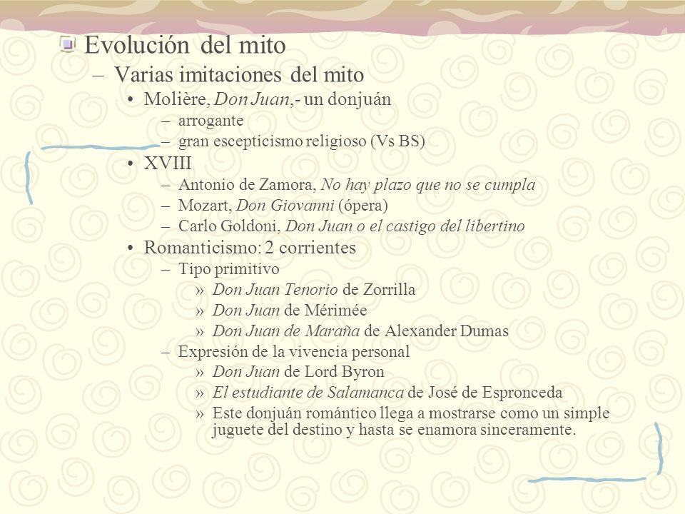 Evolución del mito –Varias imitaciones del mito Molière, Don Juan,- un donjuán –arrogante –gran escepticismo religioso (Vs BS) XVIII –Antonio de Zamor
