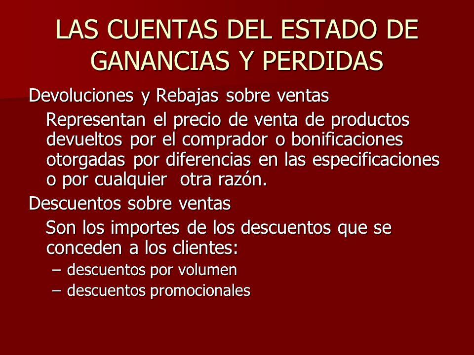LAS CUENTAS DEL ESTADO DE GANANCIAS Y PERDIDAS Devoluciones y Rebajas sobre ventas Representan el precio de venta de productos devueltos por el compra