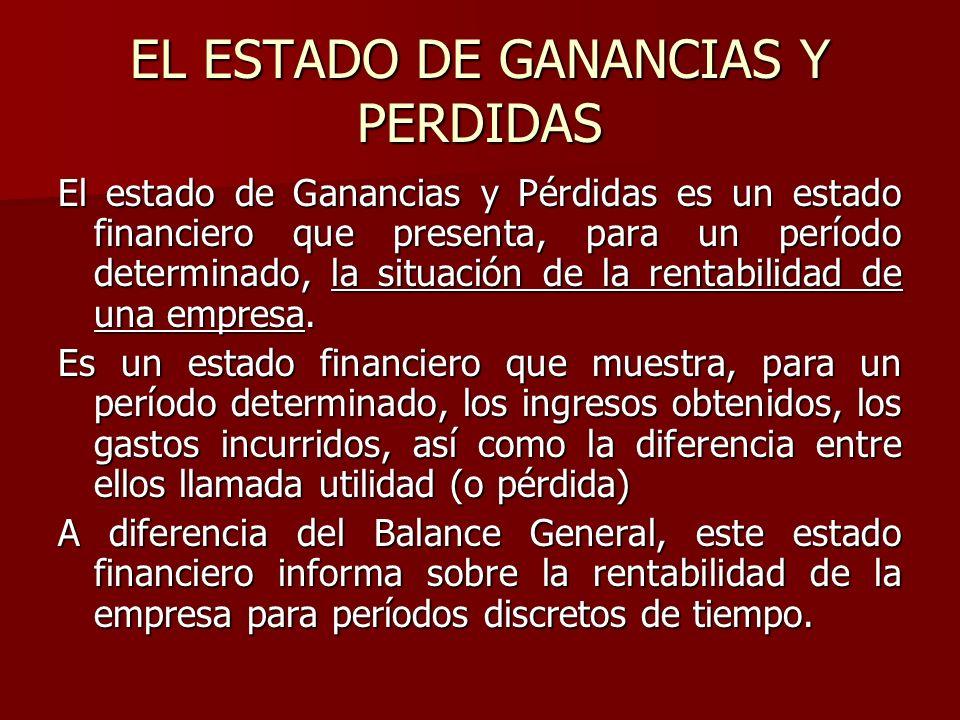 EL ESTADO DE GANANCIAS Y PERDIDAS El estado de Ganancias y Pérdidas es un estado financiero que presenta, para un período determinado, la situación de
