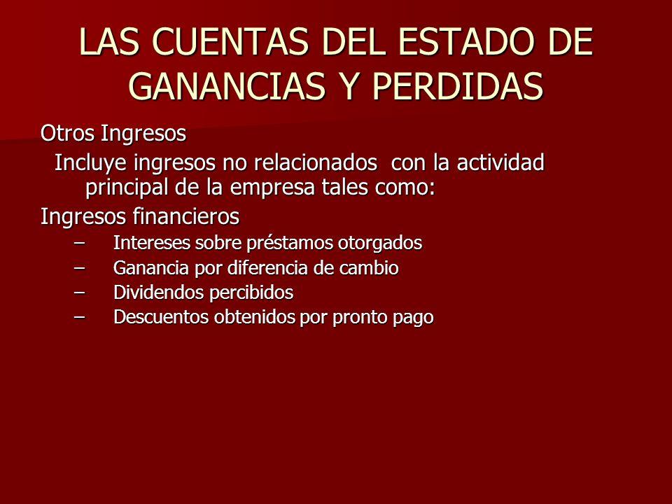 LAS CUENTAS DEL ESTADO DE GANANCIAS Y PERDIDAS Otros Ingresos Incluye ingresos no relacionados con la actividad principal de la empresa tales como: In