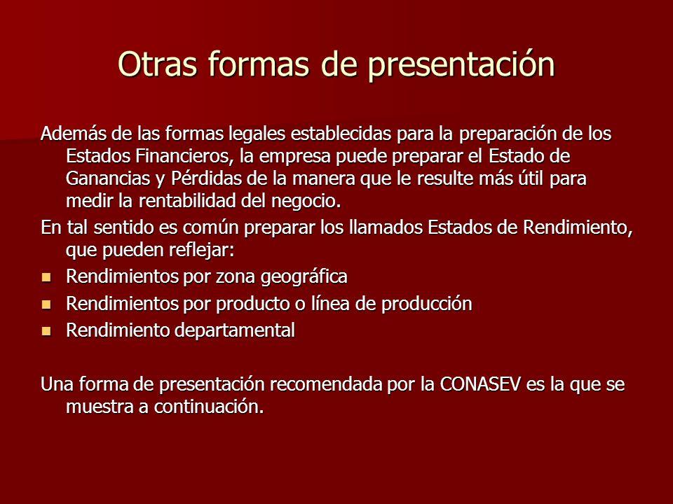 Otras formas de presentación Además de las formas legales establecidas para la preparación de los Estados Financieros, la empresa puede preparar el Es