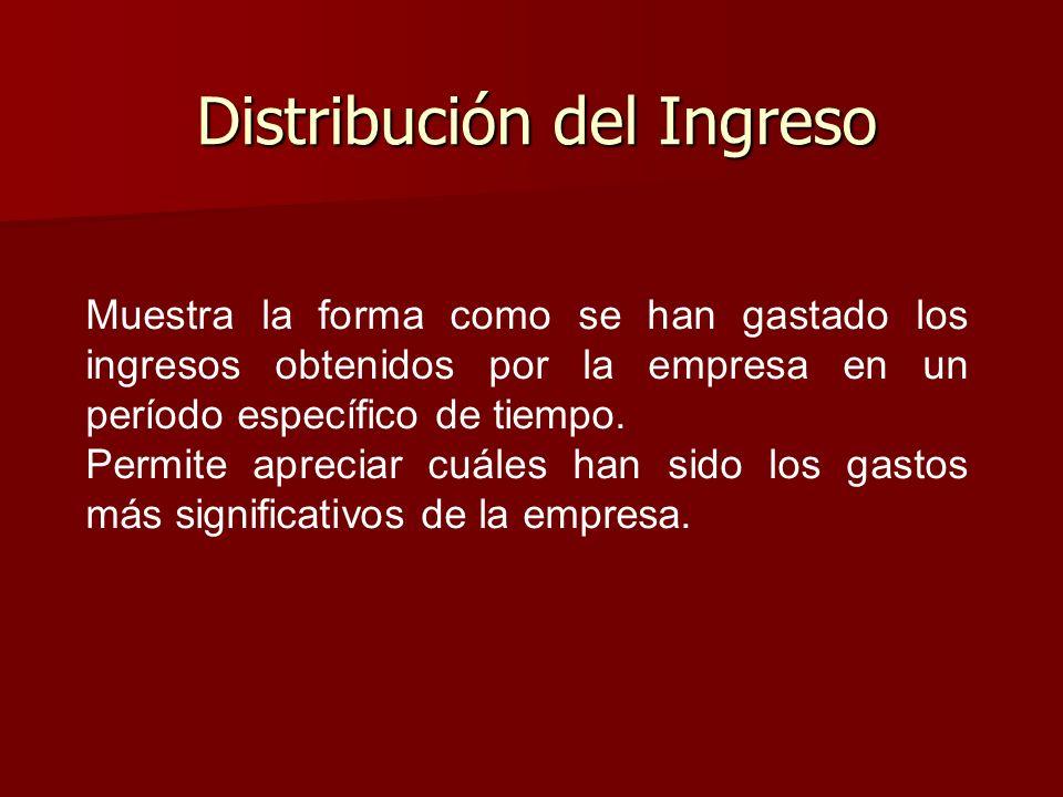 Distribución del Ingreso Muestra la forma como se han gastado los ingresos obtenidos por la empresa en un período específico de tiempo. Permite apreci