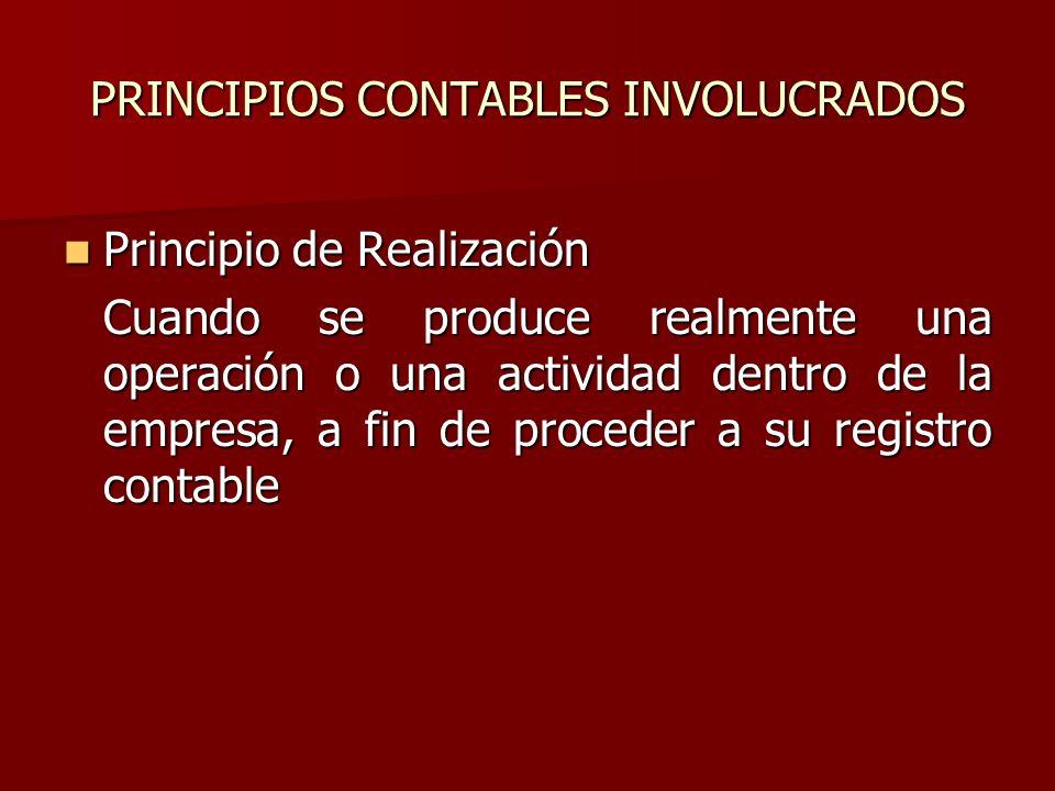 PRINCIPIOS CONTABLES INVOLUCRADOS Principio de Realización Principio de Realización Cuando se produce realmente una operación o una actividad dentro d