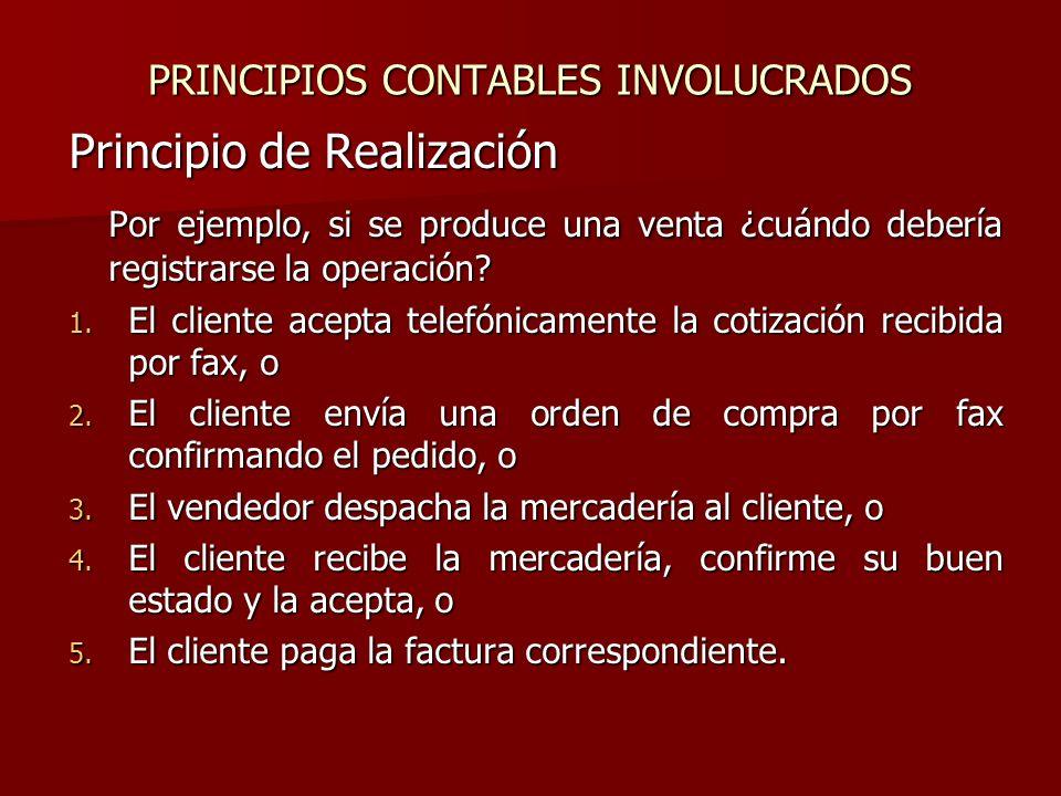 PRINCIPIOS CONTABLES INVOLUCRADOS Principio de Realización Por ejemplo, si se produce una venta ¿cuándo debería registrarse la operación? 1. El client