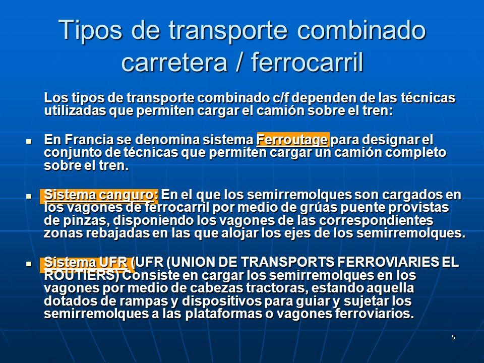 5 Tipos de transporte combinado carretera / ferrocarril Los tipos de transporte combinado c/f dependen de las técnicas utilizadas que permiten cargar el camión sobre el tren: En Francia se denomina sistema Ferroutage para designar el conjunto de técnicas que permiten cargar un camión completo sobre el tren.