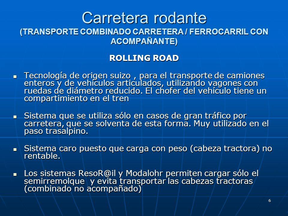 6 Carretera rodante (TRANSPORTE COMBINADO CARRETERA / FERROCARRIL CON ACOMPAÑANTE) ROLLING ROAD Tecnología de origen suizo, para el transporte de camiones enteros y de vehículos articulados, utilizando vagones con ruedas de diámetro reducido.