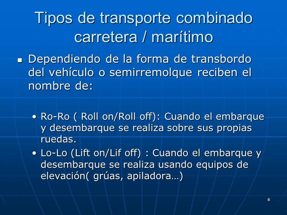 8 Tipos de transporte combinado carretera / marítimo Dependiendo de la forma de transbordo del vehículo o semirremolque reciben el nombre de: Dependiendo de la forma de transbordo del vehículo o semirremolque reciben el nombre de: Ro-Ro ( Roll on/Roll off): Cuando el embarque y desembarque se realiza sobre sus propias ruedas.Ro-Ro ( Roll on/Roll off): Cuando el embarque y desembarque se realiza sobre sus propias ruedas.