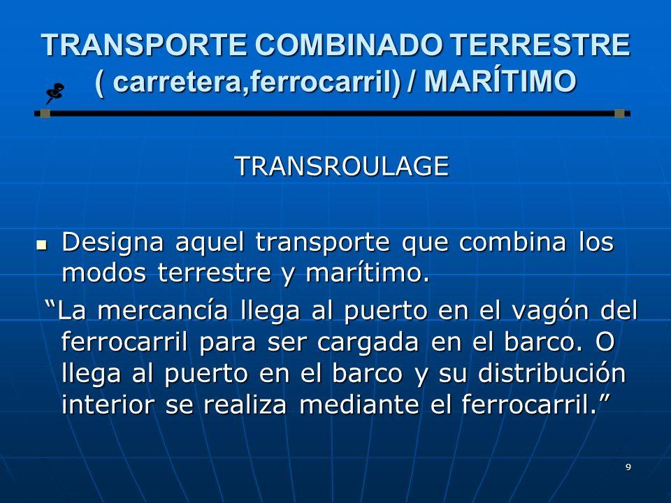 8 Tipos de transporte combinado carretera / marítimo Dependiendo de la forma de transbordo del vehículo o semirremolque reciben el nombre de: Dependie