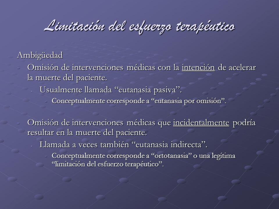 Limitación del esfuerzo terapéutico Ambigüedad -Omisión de intervenciones médicas con la intención de acelerar la muerte del paciente. - Usualmente ll