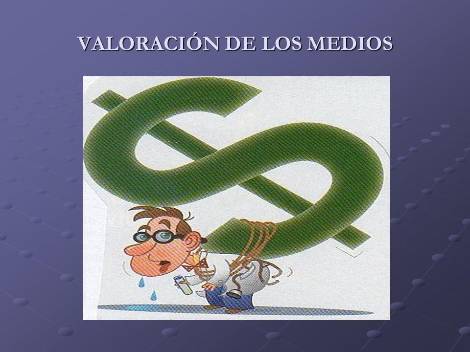 VALORACIÓN DE LOS MEDIOS